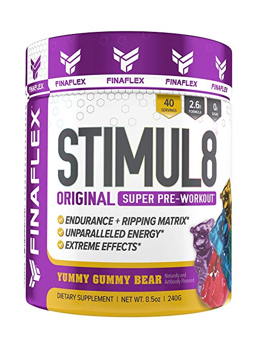 STIMUL8 by Finaflex Original Super Pre Workout Powder 40 Servings Gummy Bear
