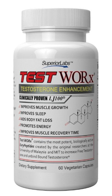 Test Worx Superior Labs Testosterone Booster Supplement (60 Capsules)