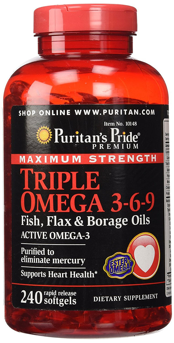 Triple Omega 3-6-9 Puritan's Pride Fish, Flax & Borage Oils - 240 Softgels