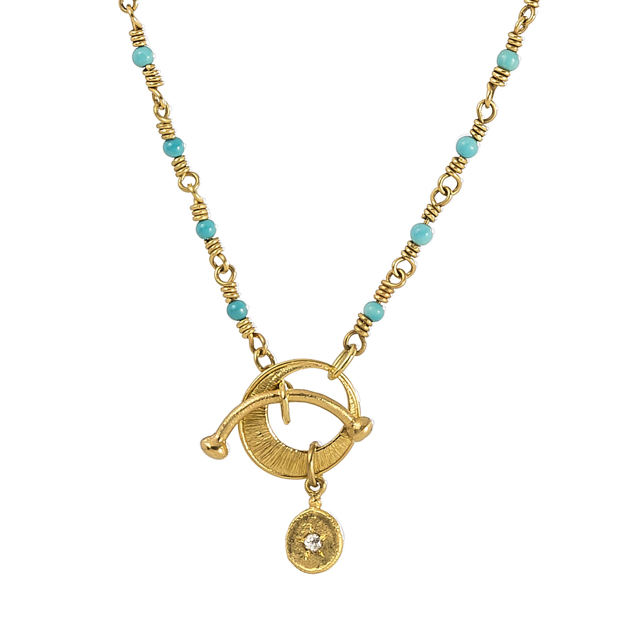 Rosary Chain Toggle Turquoise Necklace