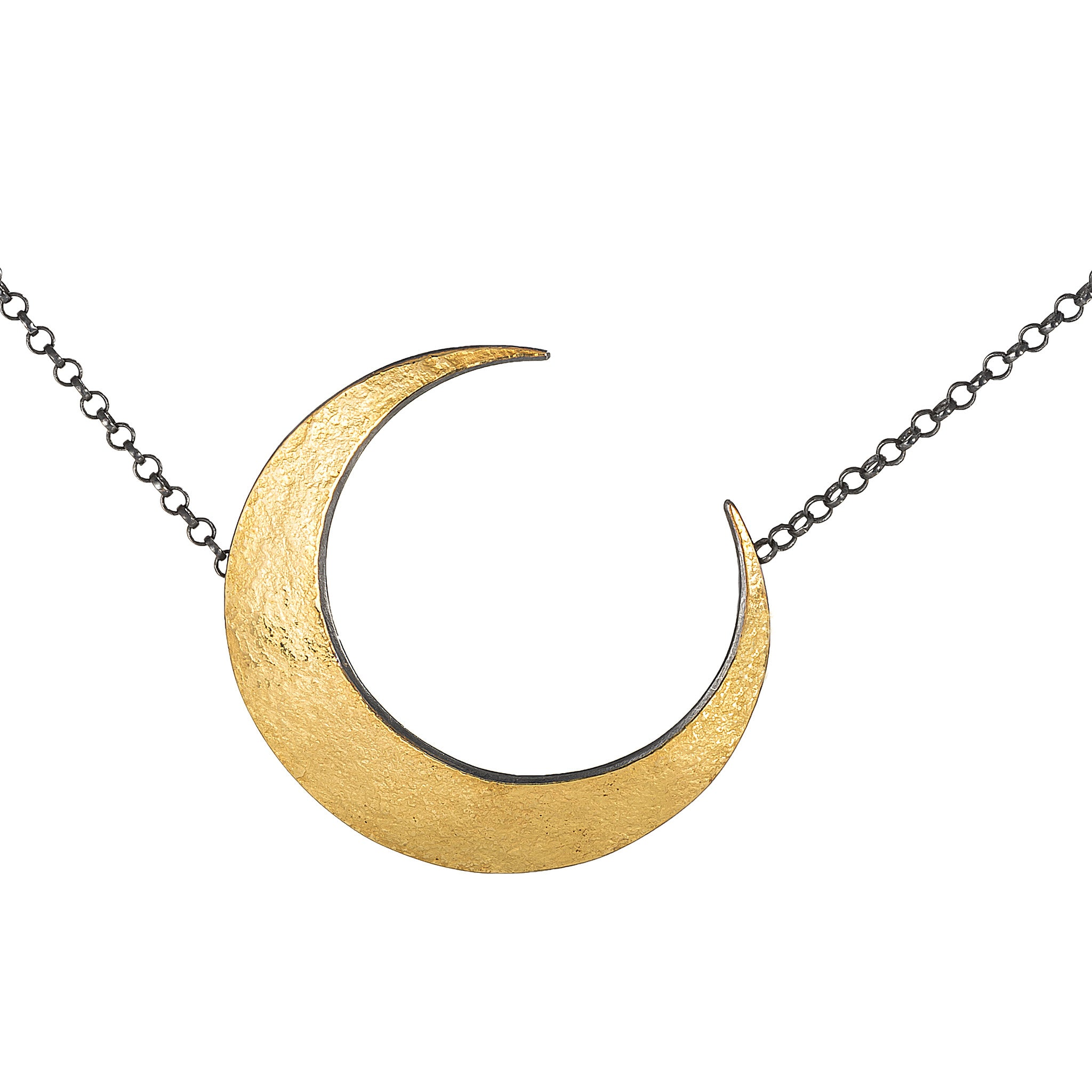 Crescent Moon Necklace - Gold and Sterling Silver