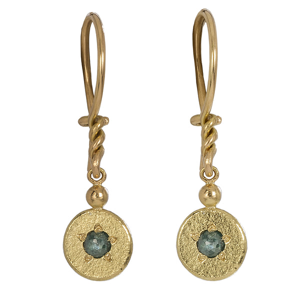 Blue Diamond Charm Earrings