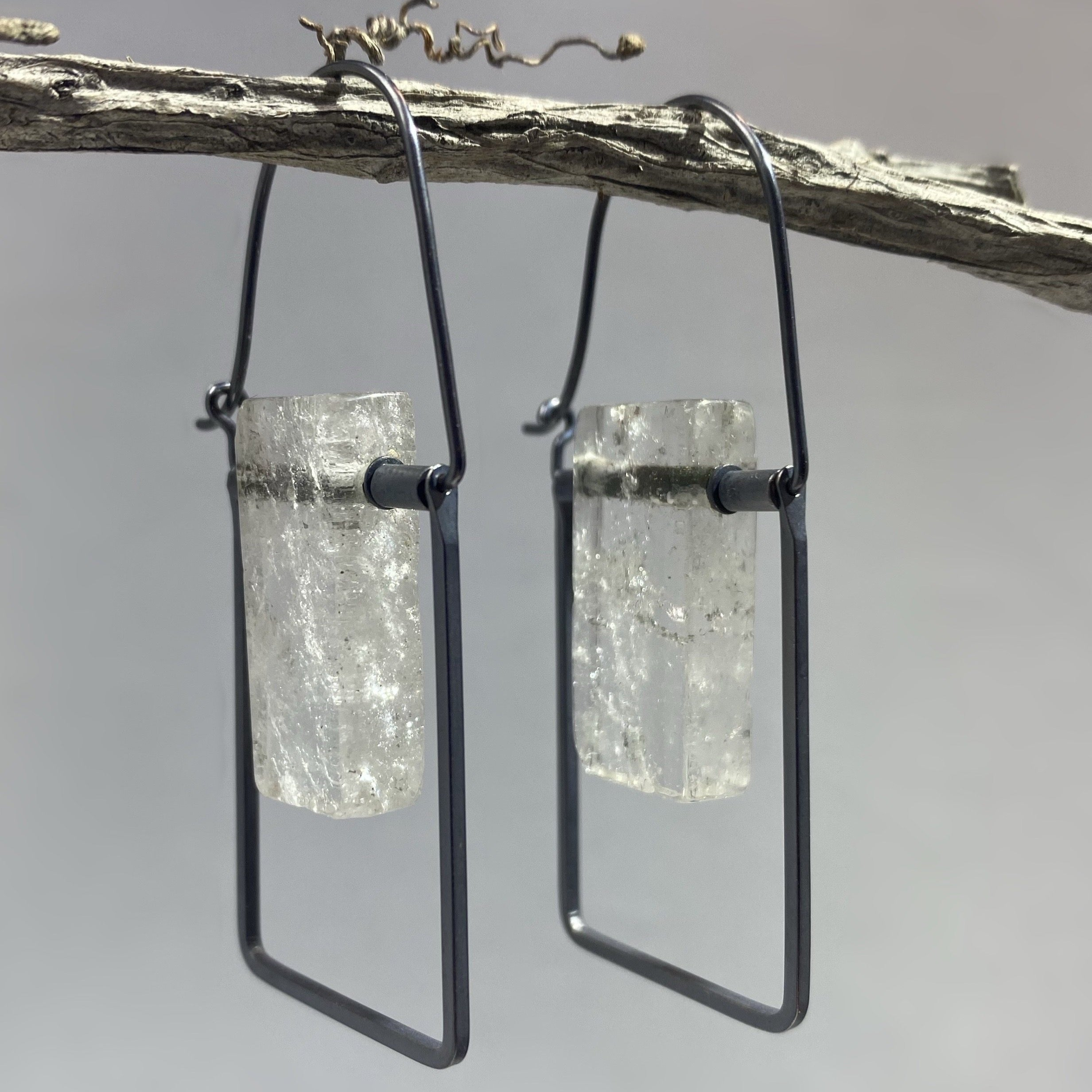 Sterling Silver-Quartz Frame Earrings