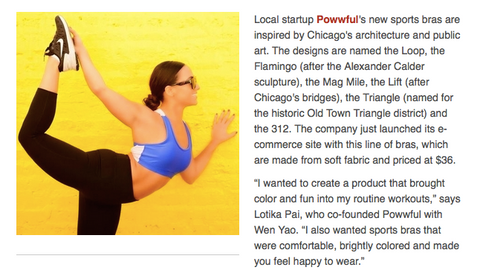 Crains Chicago Business: Thing you didn't know you need: A Chicago-inspired sports bra