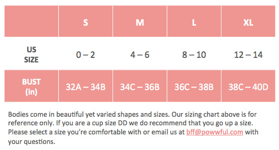 Sizing - Sports Bras by POWWFUL