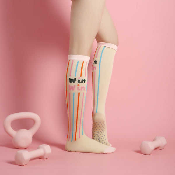 Peachy Pink – Knee High Compression Grip Socks