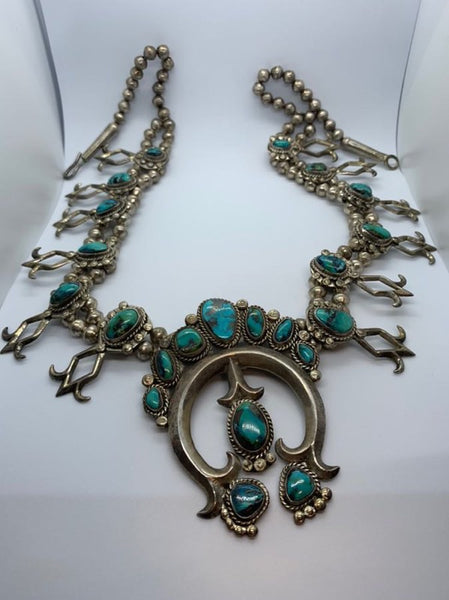 Vintage Sterling Silver Native American Turquoise Necklace.  Very nice piece.