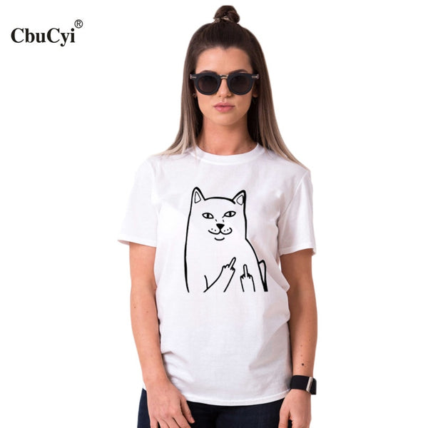 Funny Middle Finger Cat Pocket T Shirt Cartoon Graphic Tees Women T Shirt
