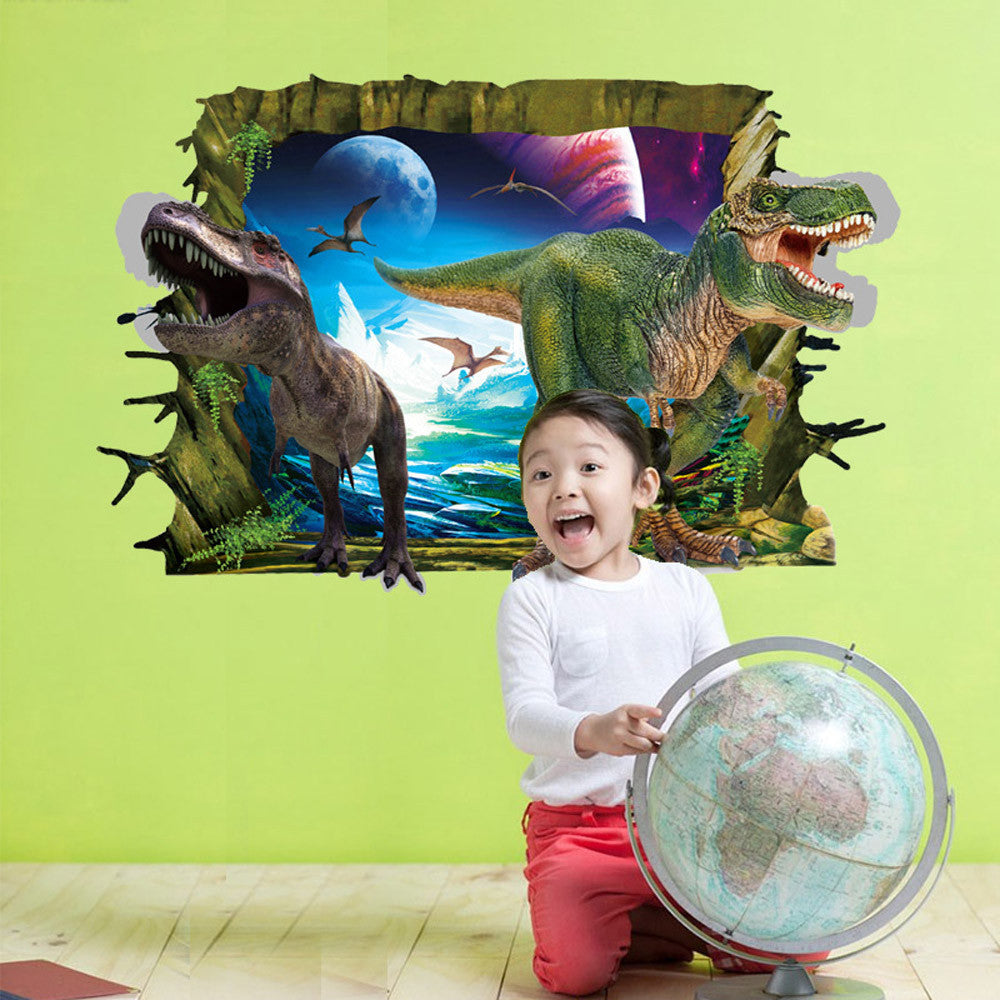 wall stickers for kids rooms Cool 3D Dinosaur Floor Wall Sticker Removable Vinyl Art Home Decal DIY For Gift