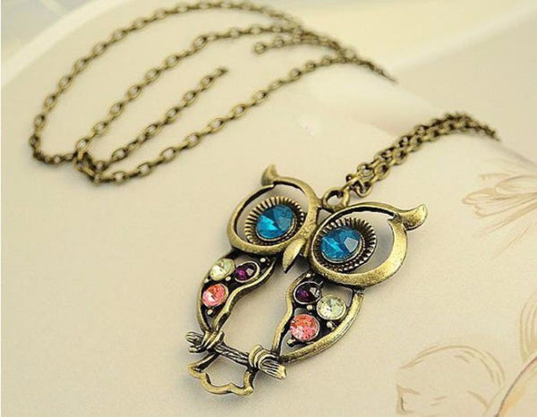 Owl Necklace Sweater Link Chain Choker Gold Rhinestone Crystal Cubic Zirconia Pendant Statement Charm Women Fashion Jewelry