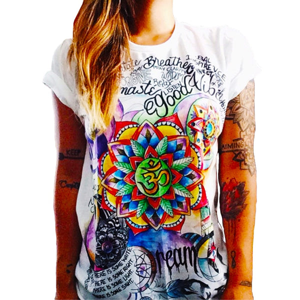 Summer Top Shirts Women T Shirt Graffiti Print Tshirt Plus Size T-shirt Tees Tops Fashion White Black S M L XL XXL