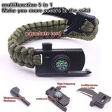 Multifunctional Survival Bracelet 6 In 1 Travel Kit Fishing Line Hooks Compass and Fire Starter For Hiking
