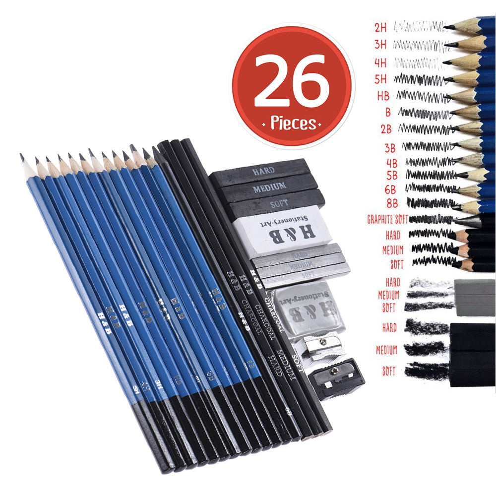 Amazing 26pc Professional Drawing Sketch Pencil Kit Set Everything you need!!