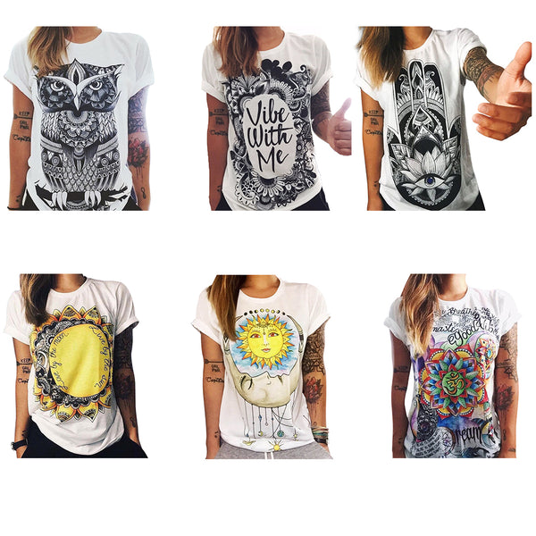 Tshirt Summer Women T-shirt Clothing Print Punk Rock Fashion Tees European T Shirt Owl Letters Eye Print T-shirt