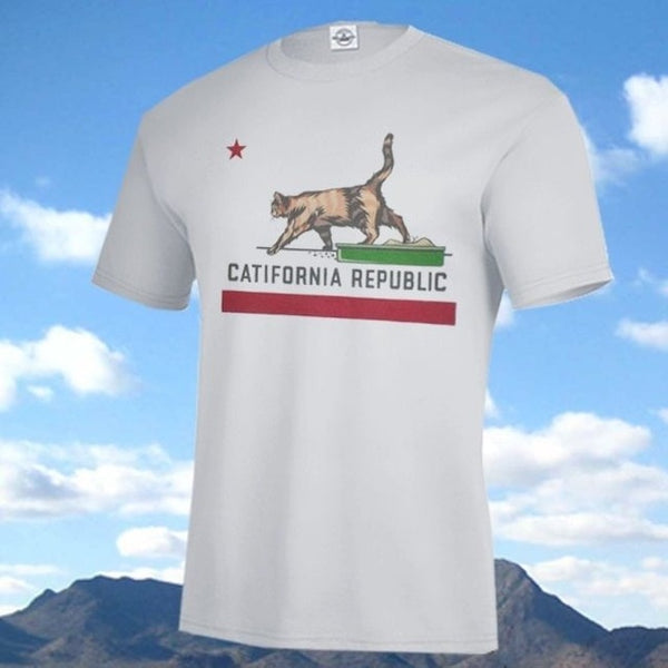High Quality Casual Printing Tee New CATIFORNIA REPUBLIC SHIRT, California State Flag Parody Cat & Litterbox Man T-Shirt