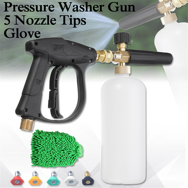 Cannon 1 L Bottle Snow Foam Lance With Quick Connector, 5 Spray Nozzle Tips for Pressure Washer