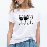 New Fashion Women T Shirt Goblet Printed Short Sleeve O-neck Funny T-shirt Wine Casual Women Tee Shirt Streetwear Clothes Brand
