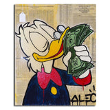 Alec Monopolyingly Wall Art Canvas Painting Street Artist Scrooge Mcduck Dollar Sign Statue Picture for Living Room Home Decor