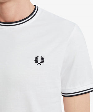 Fred Perry - M1588 Twin Tipped T-shirt in White/Black