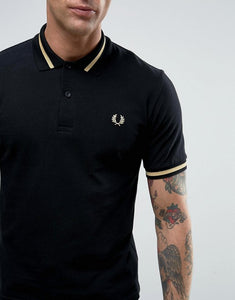 Fred Perry - M2 Polo Shirt in Black/Champagne