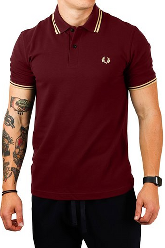 Fred Perry Reissue  -  M12 Shirt in Aubergene/Champagne
