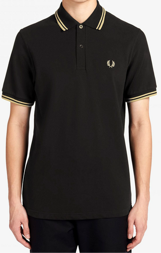 Fred Perry - M12 Polo Shirt in Black/Champagne