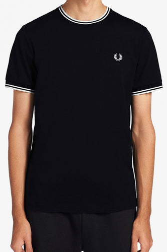 Fred Perry - M1588 Twin Tipped T-shirt in Black/Snow White