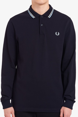 Fred Perry M3636 LS Twin Tipped Shirt in Navy / White / Ice