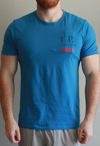 C.P. Company - Vintage Logo Print Crew T-Shirt in Imperial Blue