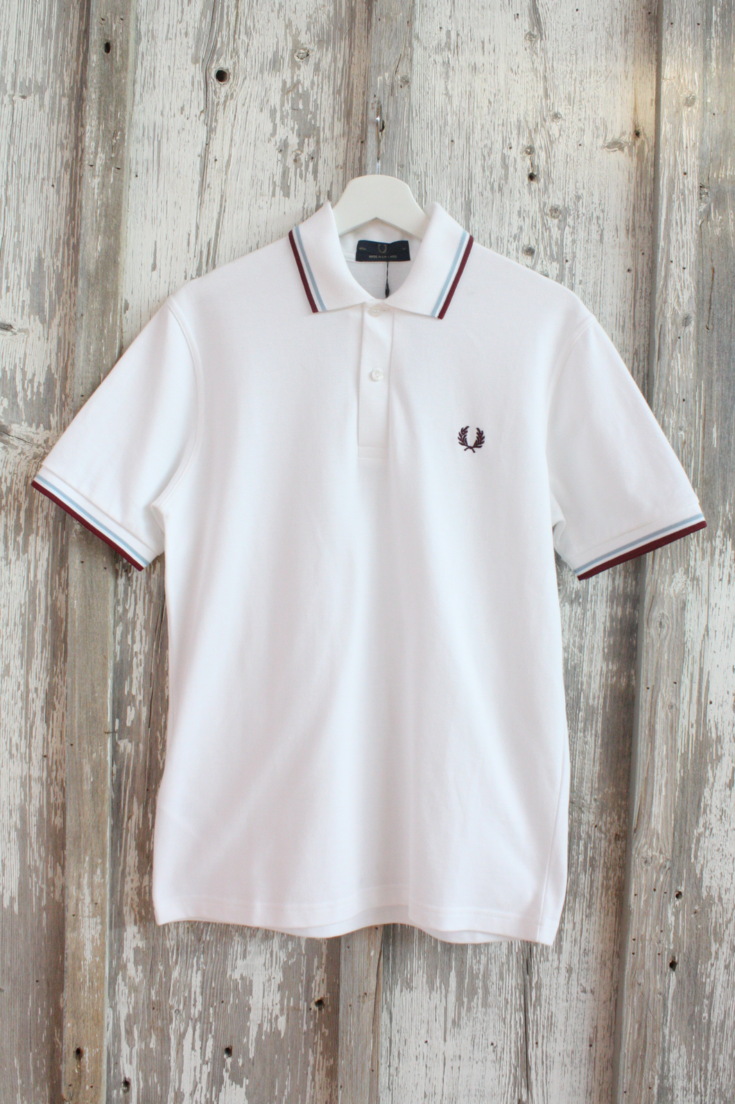 Fred Perry - M12 Polo Shirt in White, Maroon and Blue