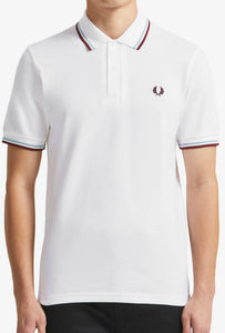 Fred Perry - M12 Polo Shirt in White/Maroon/Blue