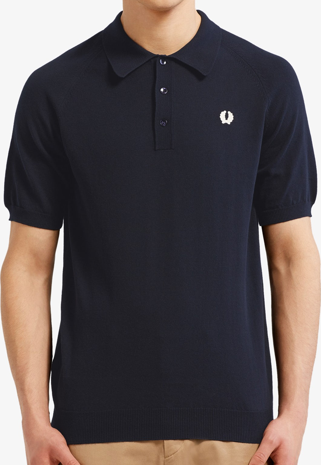 Fred Perry - Raglan Sleeve Knitted Shirt K5303 in Navy