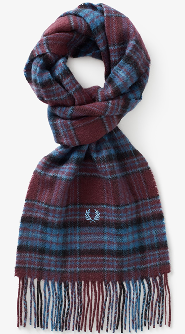 Fred Perry - Winter Tartan Scarf C7156 in Mahogany