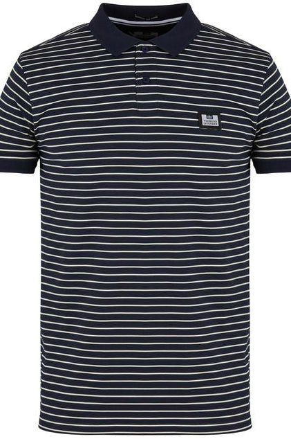 Weekend Offender - Ervin Striped Polo in Navy