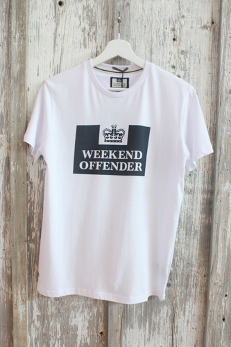 Weekend Offender - Prison Print T-shirt in White