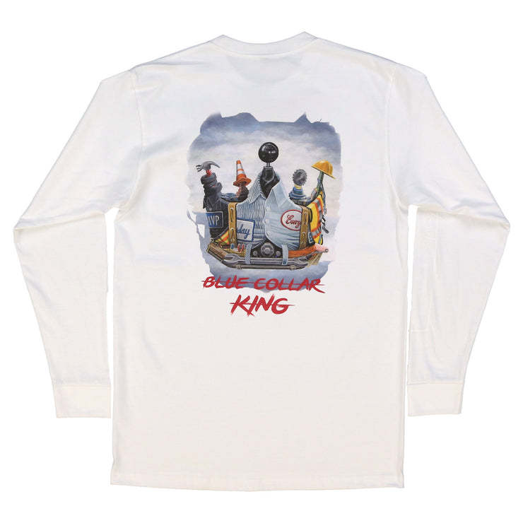 Blue Collar King Longsleeve (White)