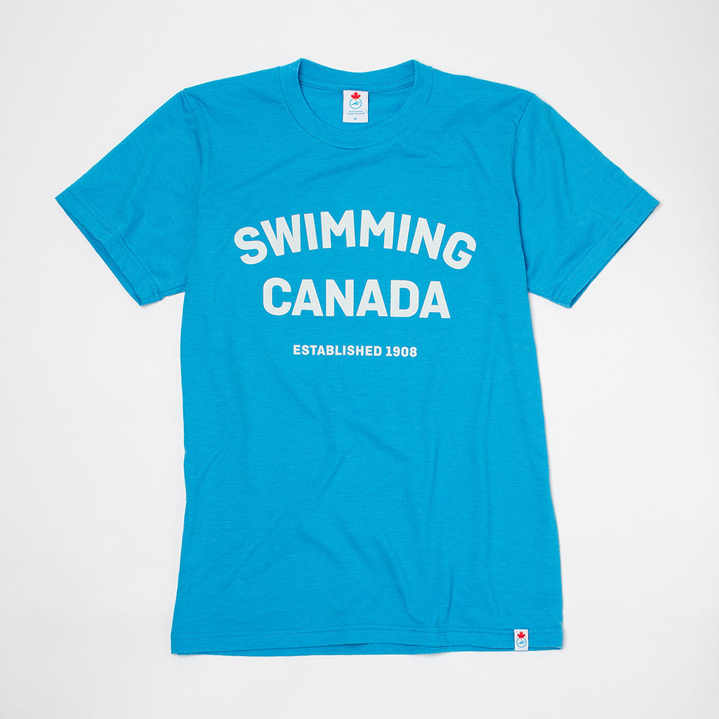 Men's Swimming Canada Heather Blue Short Sleeve T-shirt