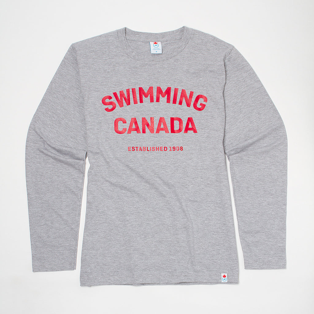 Men's Swimming Canada Heather Grey Long Sleeve T-shirt
