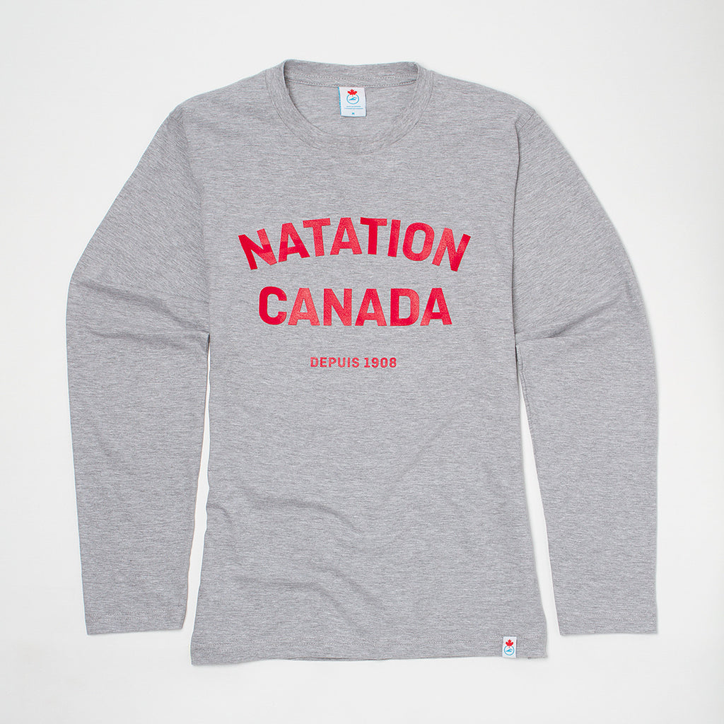 Men's Natation Canada Heather Grey Long Sleeve T-shirt