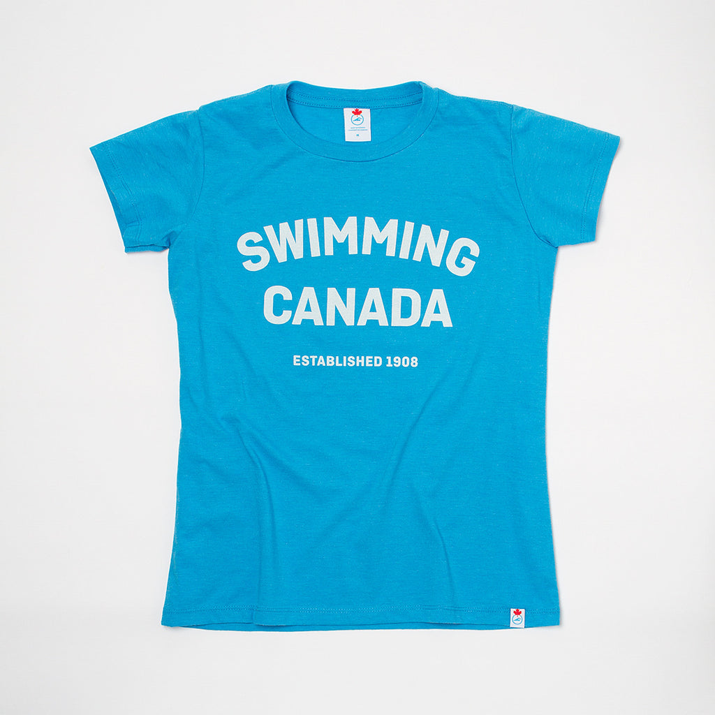 Women's Swimming Canada Heather Blue Short Sleeve T-shirt