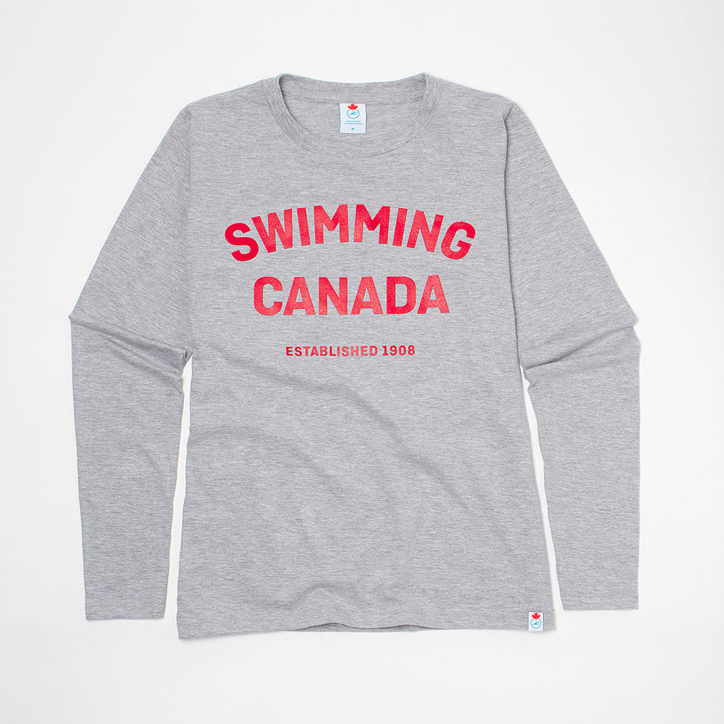 Women's Swimming Canada Heather Grey Long Sleeve T-shirt
