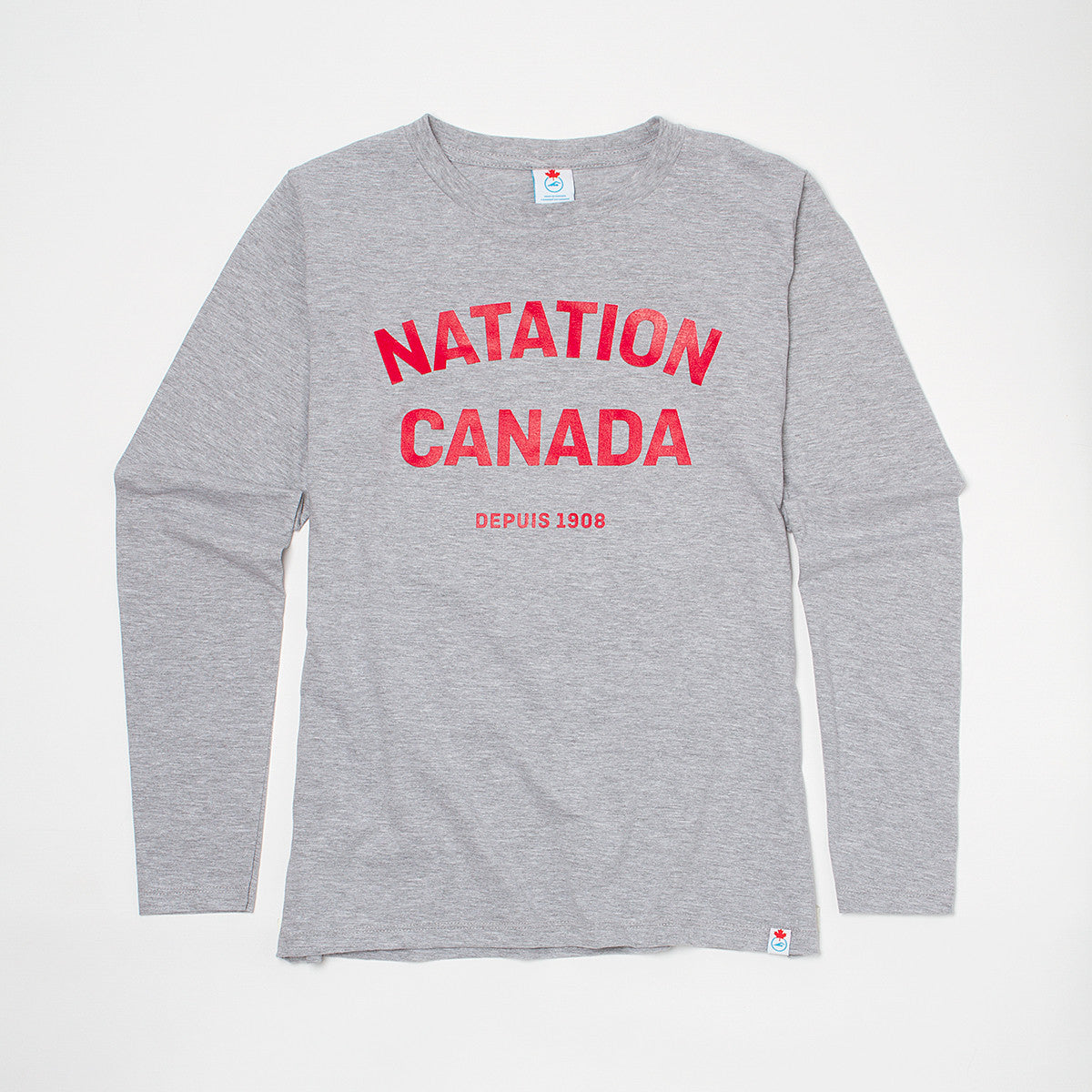 Women's Natation Canada Heather Grey Long Sleeve T-shirt