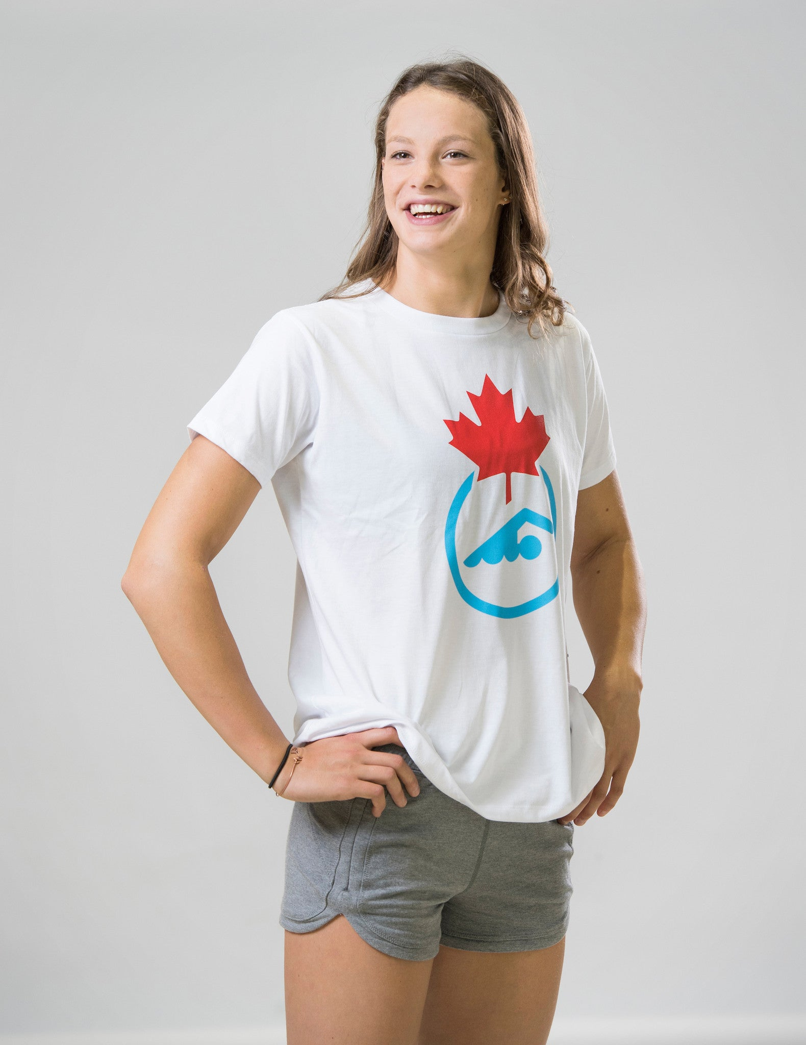 Women's Swimming Canada Logo White short sleeve T-shirt