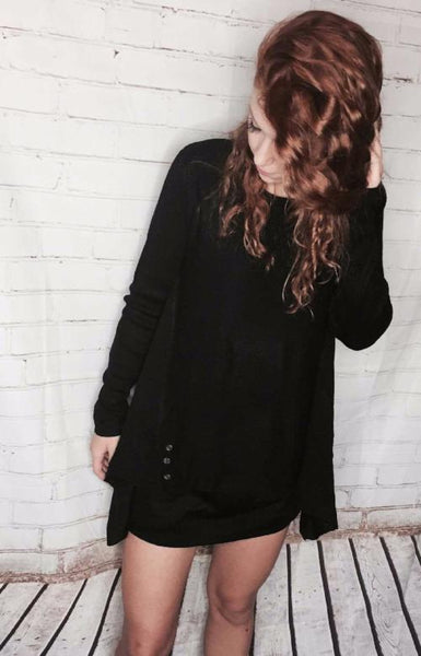 Black button sweater long shirt or dress
