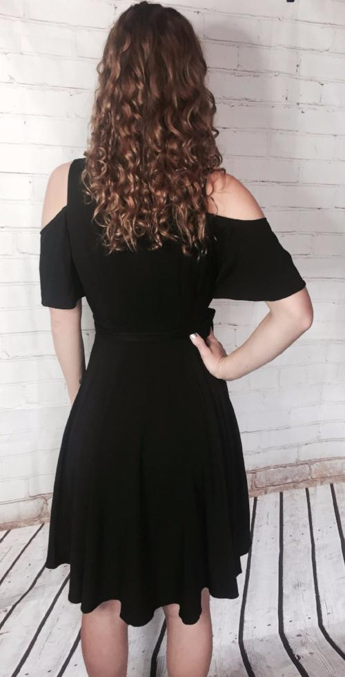 Black Cold Shoulder Overlap Dress