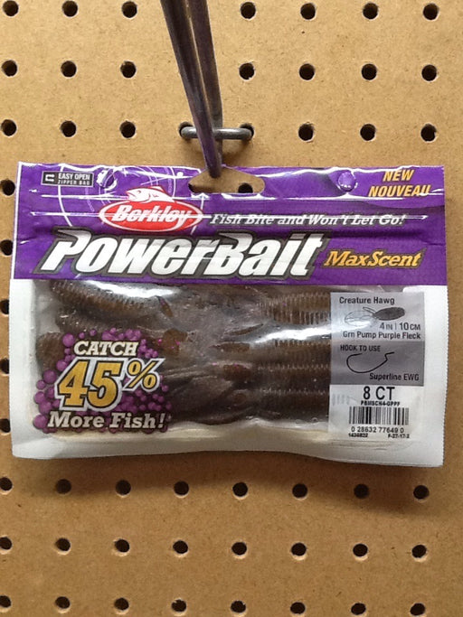 "Berkley: Power Bait Creature Hawg 4""(Green Pumpkin/ Purple Fleck)"
