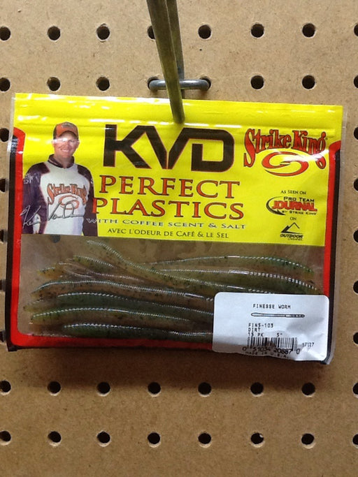 "Strike King: KVD Perfect Plastic Finesse Worm 5"" (Dirt)"