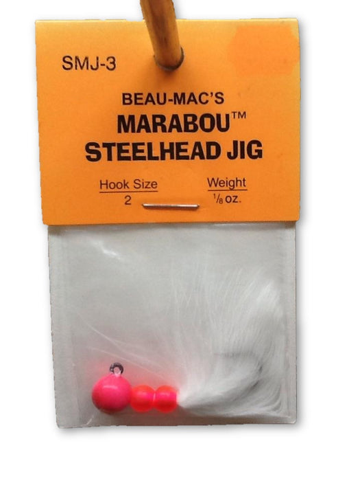 Beau-Mac's: Marabou Steelhead Jig 1/8oz. (Hot Pink/ White)