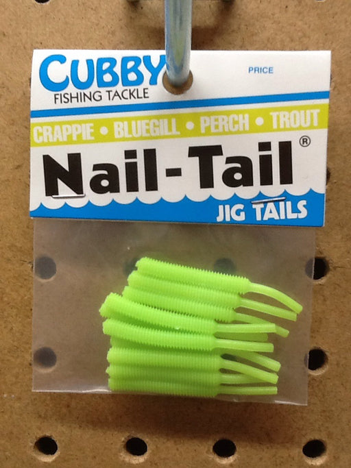 "Cubby: Nail-Tail Jig Tails 1.75"" (Silk Chartreuse)"