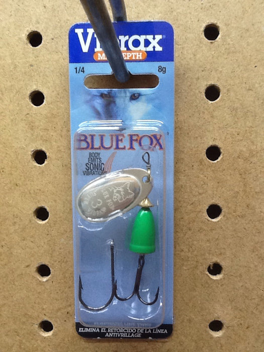 Blue Fox: Vibrax Mid Depth 1/4oz (Silver/ Fluorescent Green)